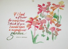 Pointed brush letters and flowers by Renate