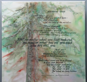 Meadow Tree - artwork and pointed brush lettering by Renate, words by Keith