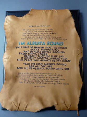 Alberta Bound - Renate's lettering, words by Paul Brandt