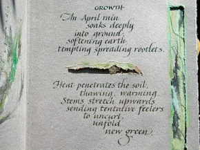 Growth - original words and Italic lettering by Renate Worthington