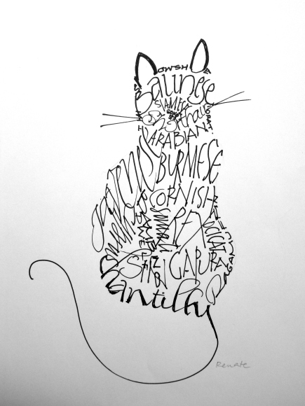 """calligram"" of cats by Renate"